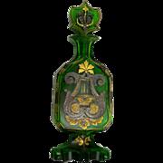 Moser Glass Perfume Bottle Emerald Green Gold Silver Harps Rare 19th C