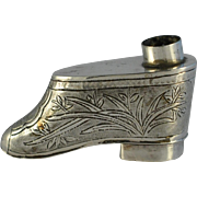 Chinese Silver Miniature Figural Shoe Inkwell /Snuff Box  Signed Engraved