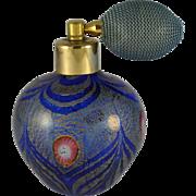 Vintage 1940's Italian Art Glass Perfume Bottle Brilliant Iridescent  Cobalt Blue &Cranberry Glass Eyes Gold
