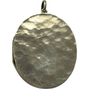 Antique English Sterling Silver Locket J.W. Benson  Arts and Crafts Design   C 1918  Large  Scarce Example
