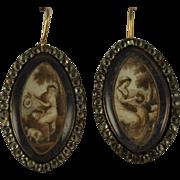 Georgian c1780 Mourning Bracelet Clasps Sepia /Grisaille Miniature Paintings English Rose Gold Blue Enamel Black Dot Pastes.