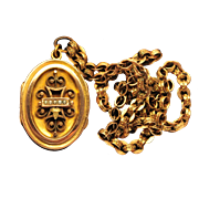 Antique Bookchain Necklace 14kt  Rose Gold /Yellow Gold Genuine Seed Pearls Ornate  Double Locket