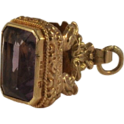 Antique Gold Wax Seal Fob English 1800's Large Faceted Amethyst  Ornate Birks Cage