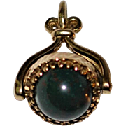 9 ct Gold Spinner Watch Fob  Blood Stone/ Burgundy Tigers Eye English