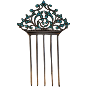 French Haircomb Diadem Jeweled Silver Turquoise Gemstones  Hair Comb 1800's