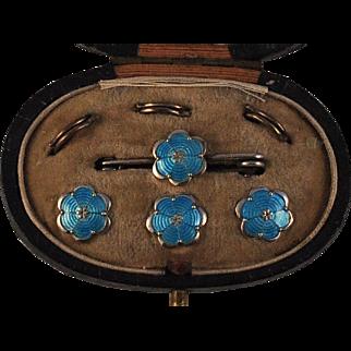 Silver Guilloche Blue Enamel Button /Brooch Set in Original Box
