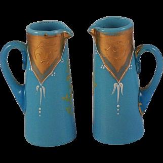 French Blue Opaline Glass Miniature Jugs/Pitchers Gold & Enamel