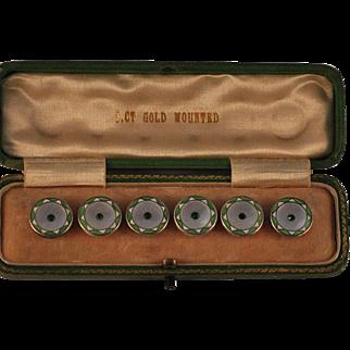 Sterling Silver Enamel Pearl Button Set Green Stones Boxed  Geometric Art Deco design