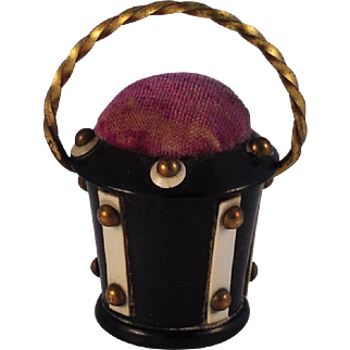 Victorian Anglo/Indian Figural Pincushion Basket  All original  Brass Studs & Handle  Scarce Sewing example
