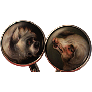 Exquisite Miniature Portrait Terrier Dog /French Boar Cuff links  Sterling Silver Signed  CJ  Cross Triangle Rare