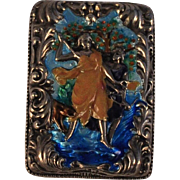 Antique Silver/Iridescent Enamel Embossed Match Safe /Match Box/Vesta case   Diana Goddess /Animals