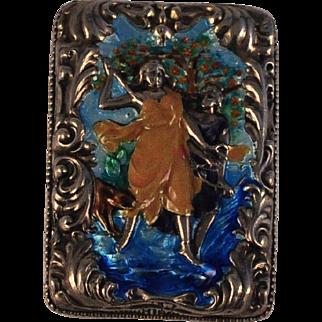 Antique Silver/Iridescent Enamel Embossed Match Safe /Match Box/Vesta case   Diana Goddess /Animals