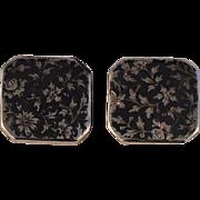 Silver Enamel  Stud Button Set  Hallmarked  EG and Tiny Bird Mark Probably  French