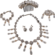 """Rare Victorian  Rock Crystal """"Pools of Light""""  Silver  Parure Necklace/Earrings/Hair ornament/ Brooch/Bracelet"""