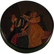 "Georgian Papier Mache Snuff Box  Hand -Painted Indoor Scene Portrait of ""A man and two women"" and a Checkerboard  Stobwasser Type"