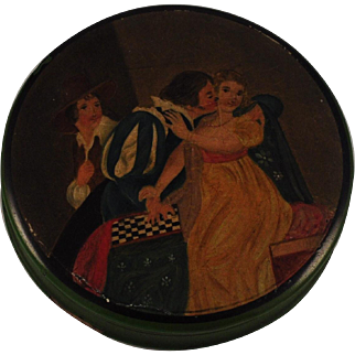 """Georgian Papier Mache Snuff Box  Hand -Painted Indoor Scene Portrait of """"A man and two women"""" and a Checkerboard  Stobwasser Type"""