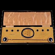 "Boxed Set Buttons/Hatpins/Buckle Royal blue/White  Enamel Gilded Metal - Flip Top Hatpins 11"""
