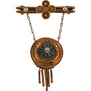 Etruscan Revival British Brooch/Pendant Persian Turquoises Pearls Cannetille Decorations  Fabulous!  1860's
