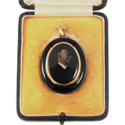 Victorian Mourning Pendant Miniature Portrait Painting  of Gentleman 9 kt Gold /Seed Pearls/Black Lacquer  Boxed