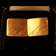 Vintage BIRKS Cuff Links Mans 14 KT GOLD Quality  Engraved Design  Rectangular 1940's