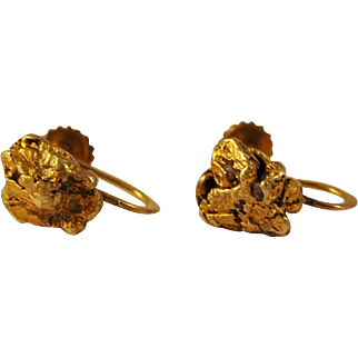 Antique Gold Nugget Earrings 22 Kt Gold Nuggets Screw on Earrings Alaskan Gold
