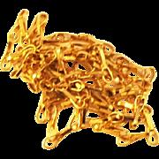 "Georgian 14 kt Gold Link Chain Necklace   23 1/4"" Long  Stunning"