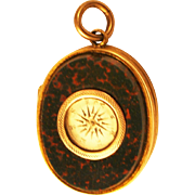 Victorian Blood Stone Ornate Double Locket / Compass Engraved Rolled Gold Back