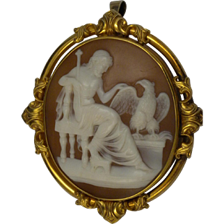 Antique Scenic Cameo  Pendant/Brooch Mythological Zeus King of the Gods High Relief 14 kt gold