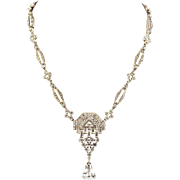 Art Deco  Knoll & Pregizer  Diamond Paste Sterling Silver Necklace  Spectacular Signed KP