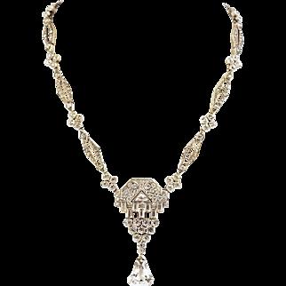 Art Deco  Knoll & Pregizer  Diamond Paste Sterling Silver Necklace  Spectacular Signed KP