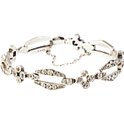 Art Deco  Knoll & Pregizer Sterling Silver/Diamond Paste Bracelet  Signed K&P