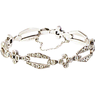 Art Deco  Knoll & Pregizer Sterling Silver/Diamond Paste Bracelet  Signed K&P