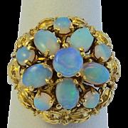 Vintage Opal 14 kt Gold Cluster Flower Ring  Genuine Australian Opals  (11)  Old Appraisal Incl.