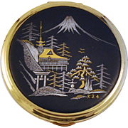 Japanese Komai Powder Compact 24 kt Gold Silver Mixed Metals Scenic
