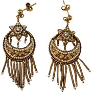 Etruscan Revival Victorian Earrings  Seed Pearls 18 kt Gold  Star/Moon/Tassels Mechanical  c 1860