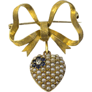 Antique Mourning 18 kt Gold Puffy Heart Brooch Seed Pearls Sapphires, Old European Cut Diamond  Textured Bow