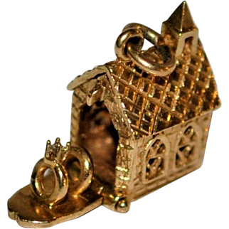 Vintage Gold Church ?Wedding Rings Articulated Charm Very sweet!