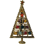 Vintage Christmas Tree Brooch Jeweled Signed CBJ    Multi Colored Rhinestones Jeweled Star