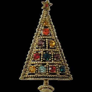 Vintage Christmas Tree Brooch Jeweled Signed CBJ    Multi Colored Rhinestones Jeweled Star