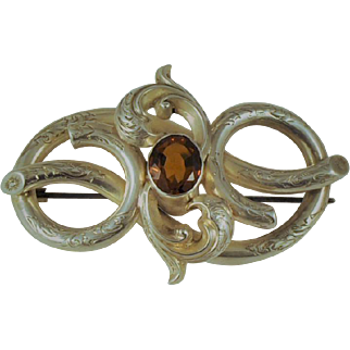 Antique Victorian Scottish Silver Cairngorm Gemstone Brooch Engraved  C Clasp  Very Large