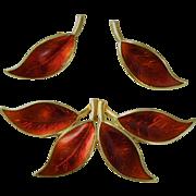 Modernist Norway David Andersen Sterling Silver/ Red Enamel Brooch and Earrings Gilded  Beautiful