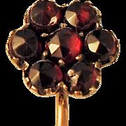 Antique Garnet Stickpin 7 Faceted Claw Set Garnets  Rich Red