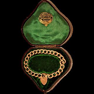 Antique English Rose Gold Heart Padlock Curb Bracelet in Original  Box  Birmingham 1899