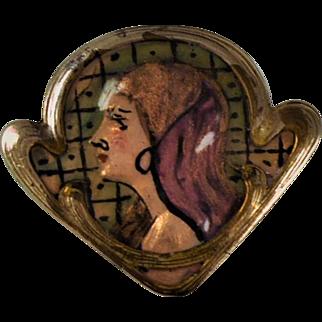Art Nouveau Lady  Enamel Brooch  C 1895