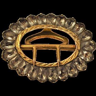 Georgian Foiled Black Dot Paste Shoe buckle Brooch Foiled  Facetedd Stones Pinchbeck Gold English 1780's
