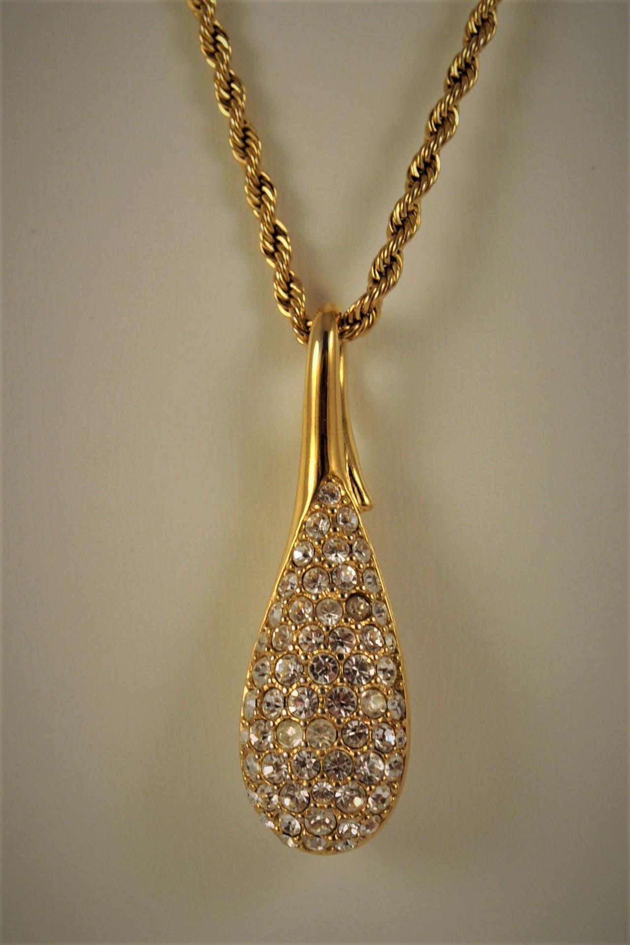 Vintage Swarovski Large Crystal Teardrop Pendant Amp Long