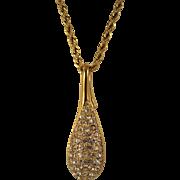 Vintage Swarovski Large Crystal Teardrop Pendant & Long Gold plated chain  Signed