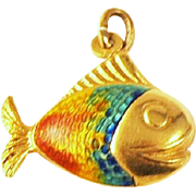 Vintage 18 kt Gold/ Enameled Fish pendant/Charm  Tropical Smiling Fish