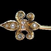 Antique  Feur di Lis  14 kt gold Diamonds/ Pearls French Design / Old European cut Diamonds