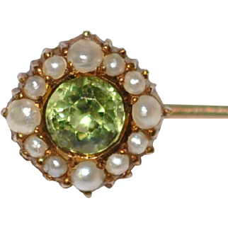 Antique Peridot 14kt Gold Seed Pearl Stickpin  Faceted Peridot  Signed with a Vase Shape